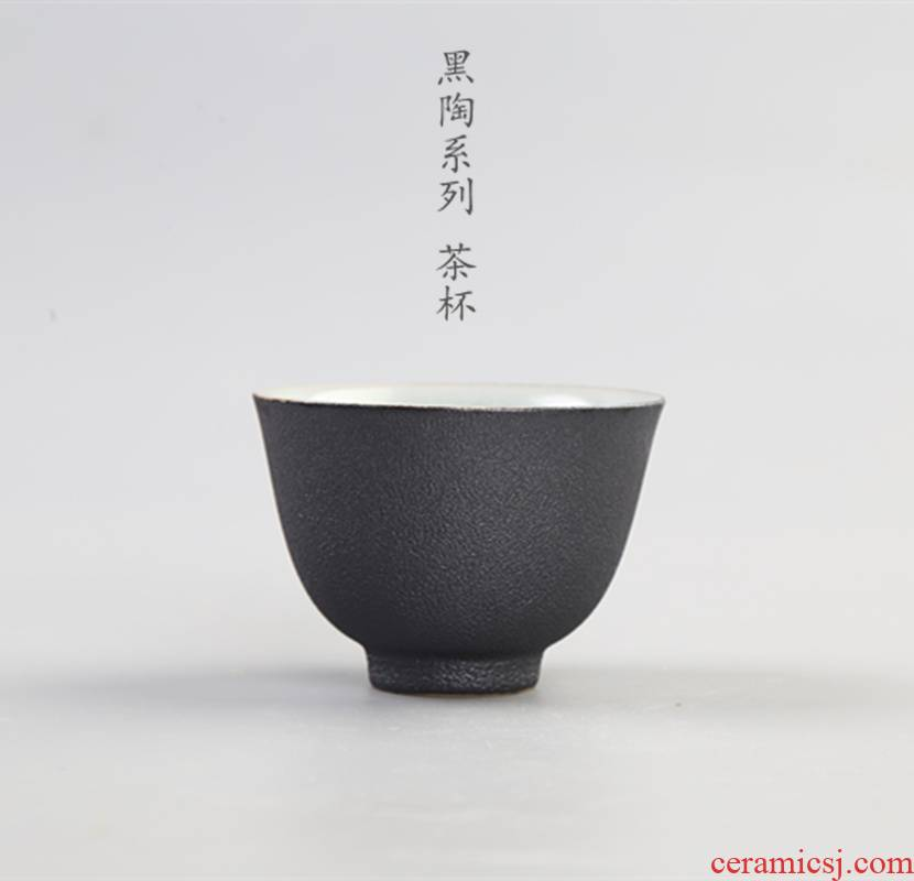 Element at the beginning of the sample tea cup of black ceramic kung fu tea cups individual cup of pu 'er tea cup of coarse pottery single cup, small bowl