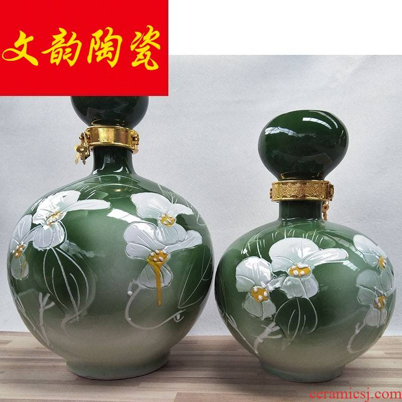 Jingdezhen 5 jins of hand - made of ceramic seal hip flask how empty wine bottles of wine jar with lock bag in the mail