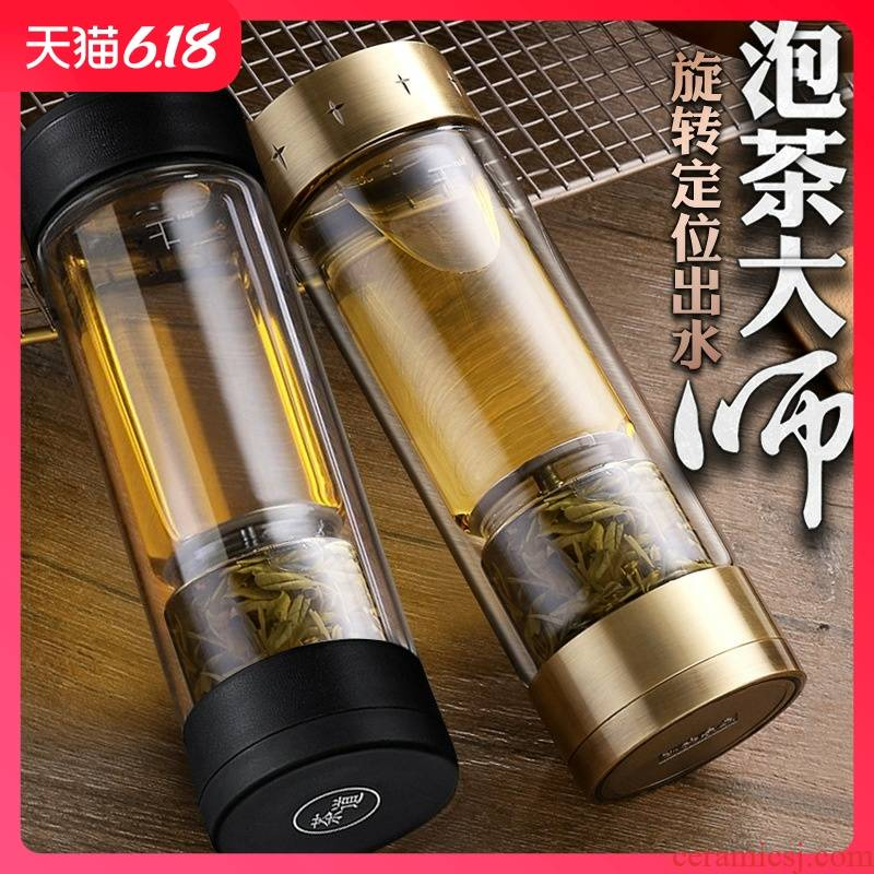 Guest comfortable business gifts tea separation to hold glass cup men 's double rotating high borosilicate insulation water tea cup