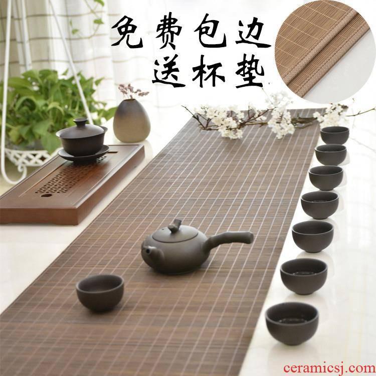 Zen tea bamboo filament mat Japanese bamboo - curtain cloth, cotton and linen cloth art kung fu tea plate heat insulation as table flag