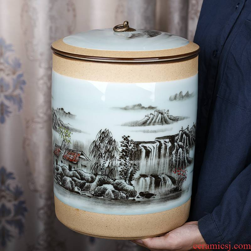 Shadow green landscape straight ceramic tea pot seal moisture large household storage coarse pottery tea barrel