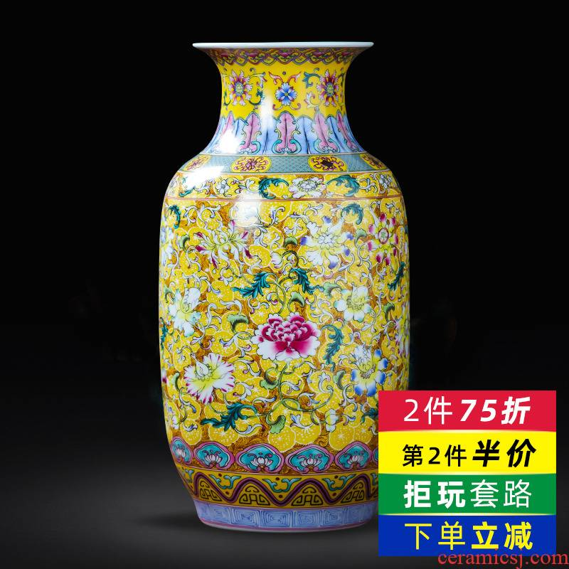 Jingdezhen porcelain ceramic colored enamel large vases, flower arranging place of new Chinese style household living room TV cabinet decoration