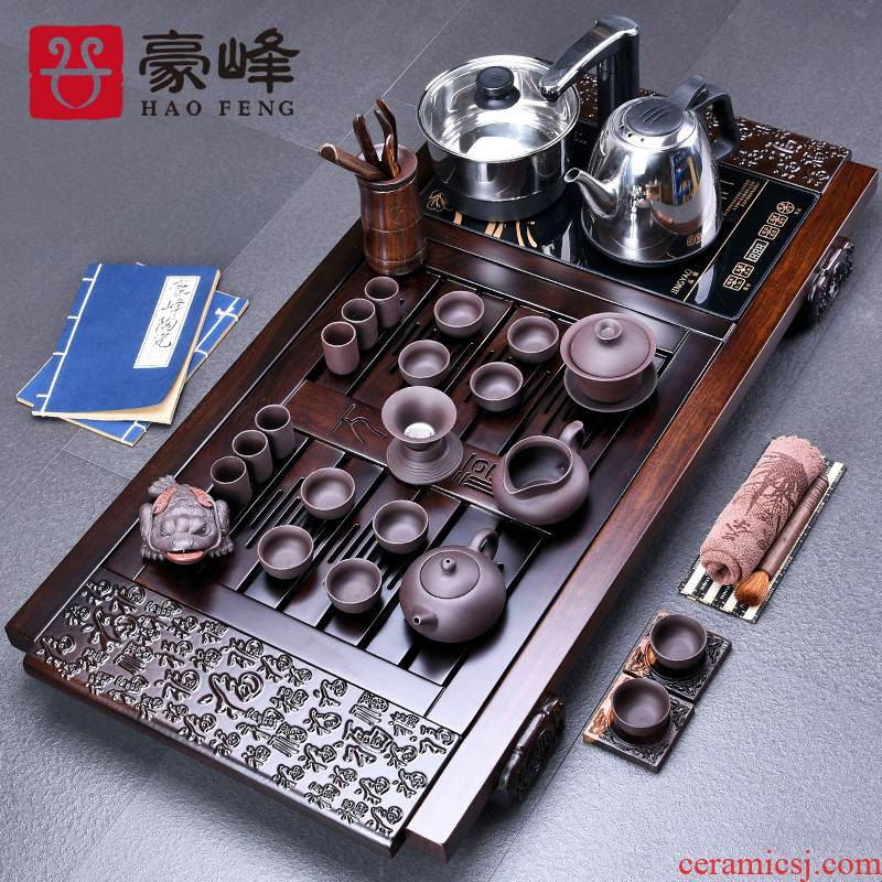 HaoFeng ebony wood tea tray ceramic gifts sets of a complete set of violet arenaceous kung fu tea set with four unity of electrical appliances