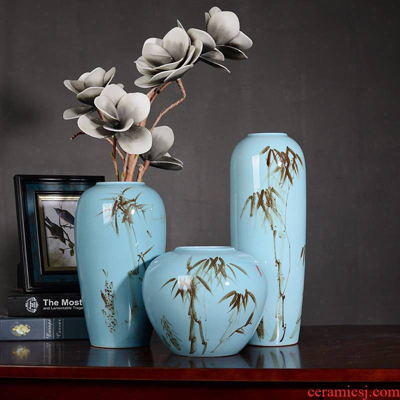 Contracted and I household ceramics creative lucky bamboo vase dried flowers zen sitting room ground adornment flower arranging furnishing articles