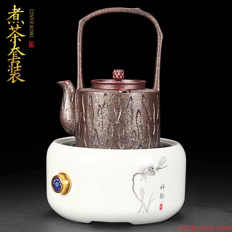 Artisan fairy tea boiling tea set to restore ancient ways is checking ceramic household size tasted silver gilding girder pot electricity TaoLu suits for