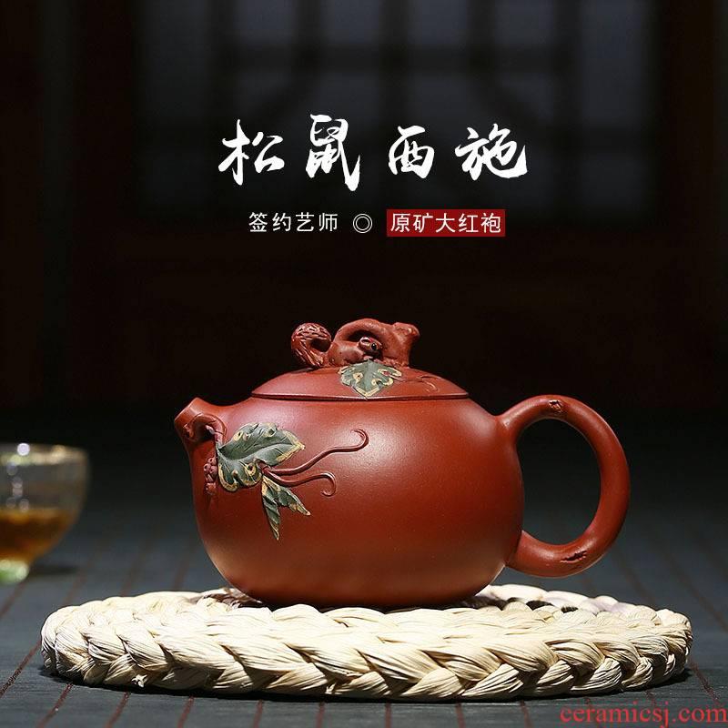 Yixing xu ink undressed ore dahongpao squirrel grape xi shi it pure manual can keep single pot can collect the teapot
