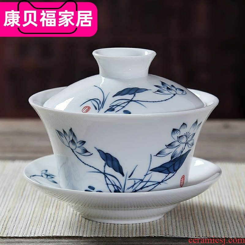 Tureen jingdezhen blue and white porcelain cups Tureen large ceramic kung fu tea set three bowl to bowl teapot