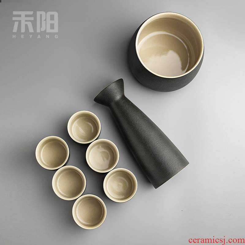 Send Yang Japanese black pottery temperature wine pot clear wine wine suits for the and hip hot hip ceramic bottle glass