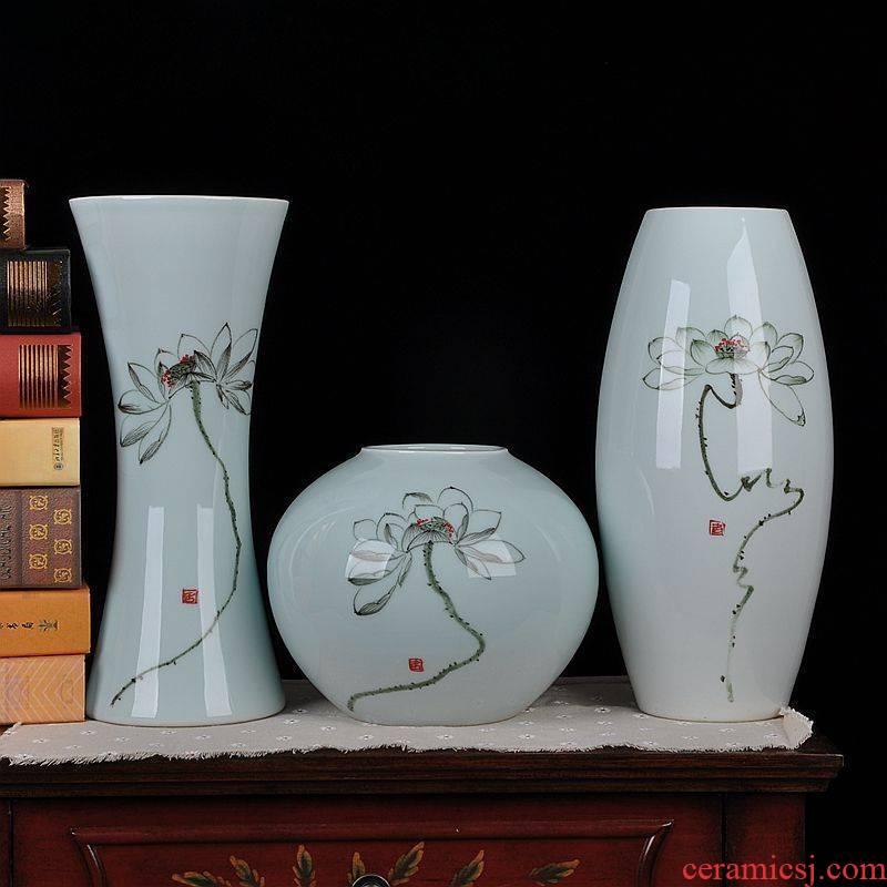 Jingdezhen ceramics vase modern Chinese celadon hand - made three - piece household adornment handicraft furnishing articles