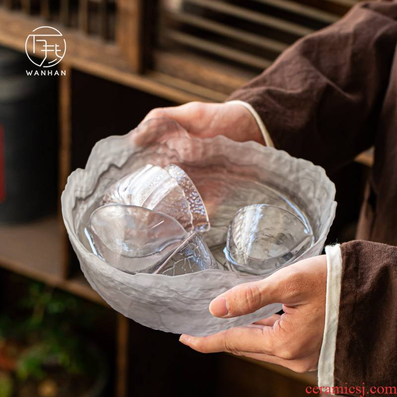 Japanese hammer glass tea to wash large creative manual zen kung fu tea accessories for wash cup bowl with water, after the wash