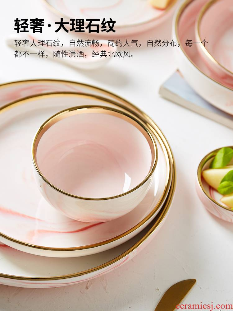 Pink marble ceramic tableware up phnom penh household food tray was 0 for breakfast dishes