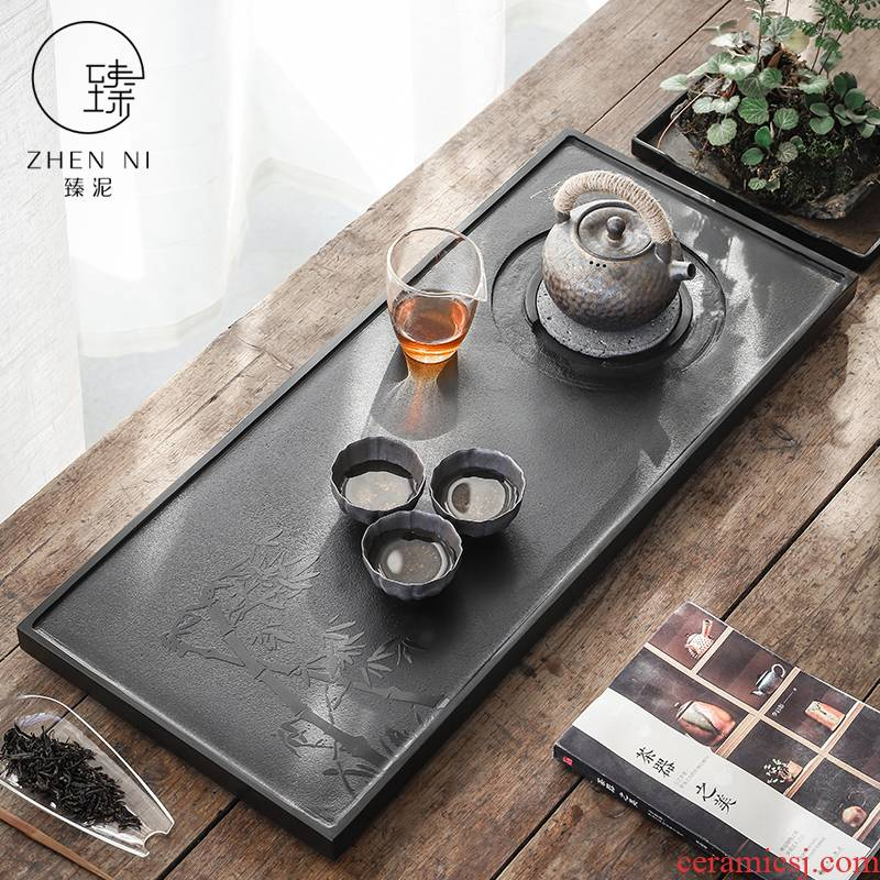 By mud home tea consolidation piece of natural hand - made graven images sharply stone tea big number from the black sea stone tray