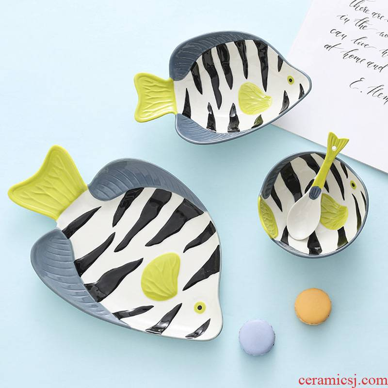 Ceramic dishes suit household tableware express cartoon children eat fruit bowl dish dish dish fish plate size