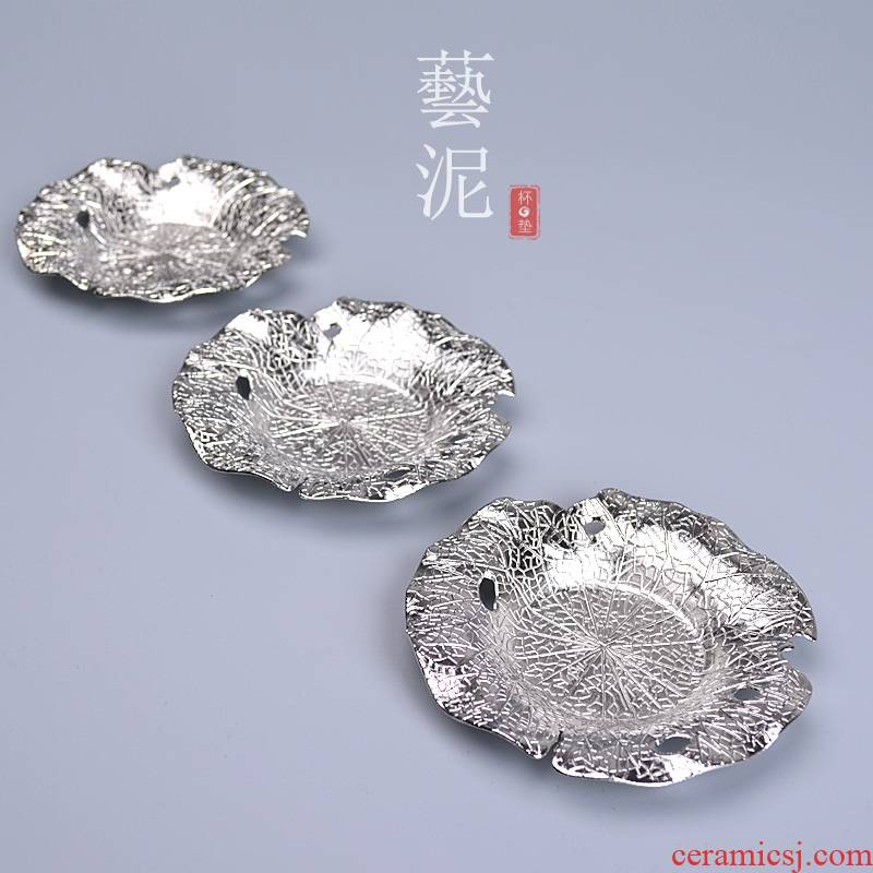 Manual creative teacup pad of copper alloy and heat insulation pad Japanese retro kung fu tea cup saucer tea accessories
