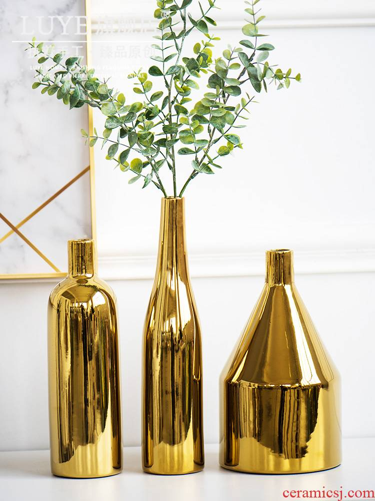 Furnishing articles I4ins Nordic golden vases, ceramic flower arranging creative contracted and I home sitting room adornment table dry