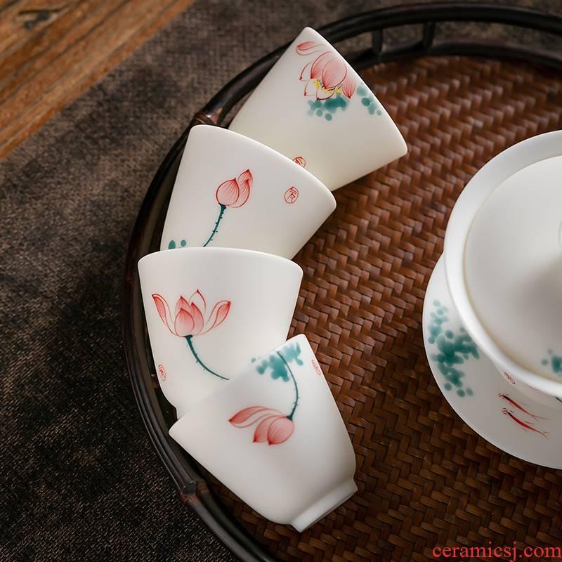 Fujian gen kung fu tea cups and suet jade porcelain glaze color ceramic sample tea cup host CPU single cup home tea cups of tea