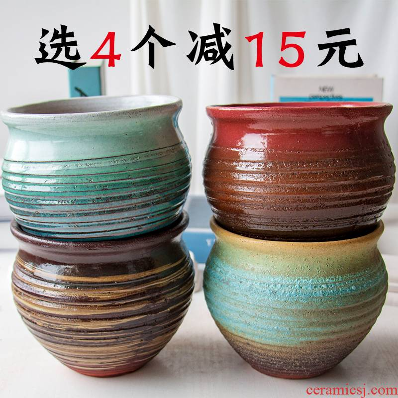 Mage, fleshy flower POTS and) old running the tao meaty plant basin of China rose, purple sand pottery and porcelain large POTS wholesale