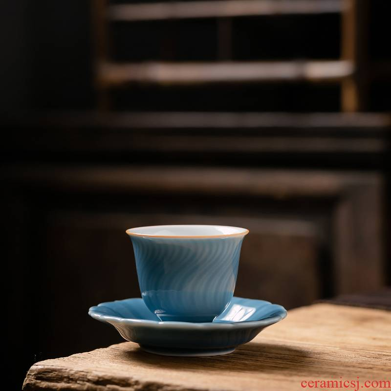Fujian and shadow green Japanese teacup suit household sample tea cup masters cup single mat ji blue kung fu tea tea set,
