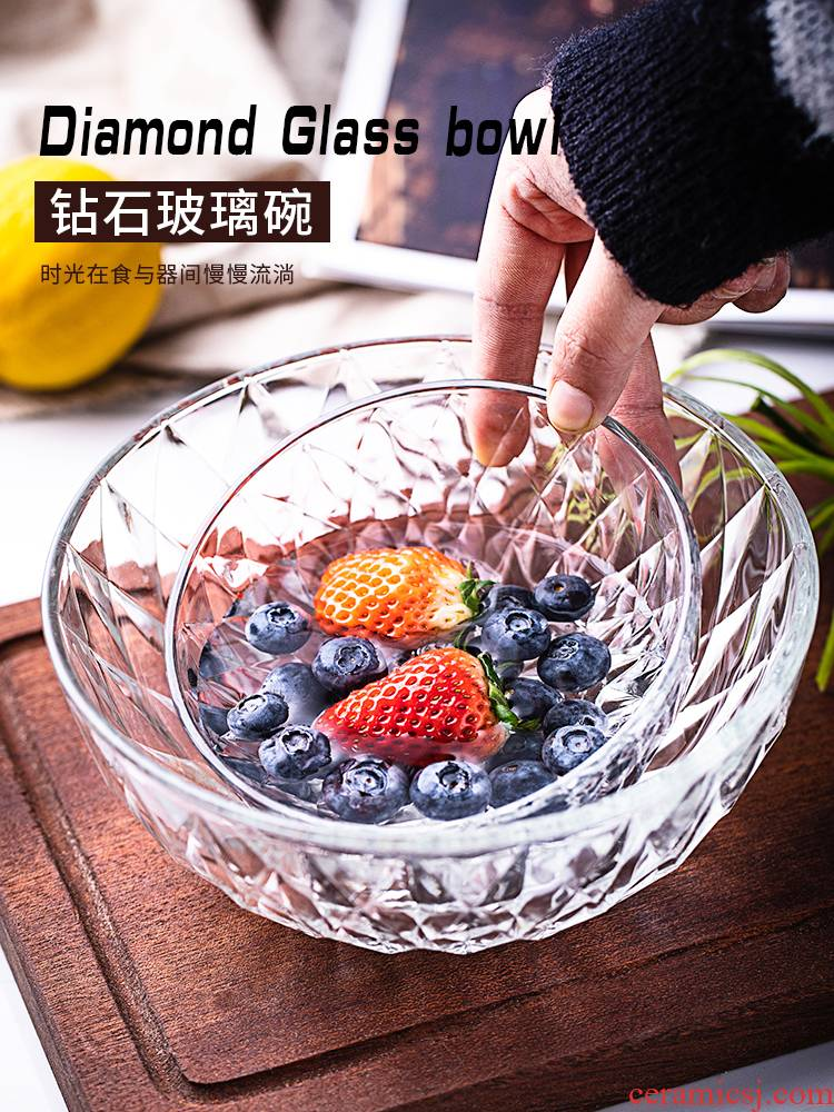 Transparent glass bowl household dessert bowl of fruit salad bowl large soup bowl mercifully rainbow such use heat - resistant tableware creative students