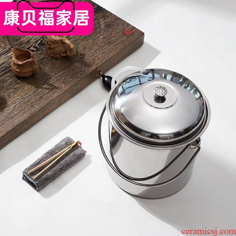 Tea tray by waste stainless steel Tea set a drain thickening tapping kung fu Tea barrel dross barrel detong barrels of household wastewater discharge