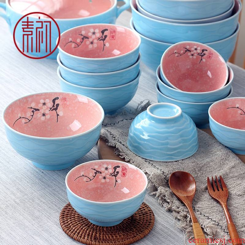 Element at the beginning of jingdezhen ceramic bowl home eat rice bowls a single large rainbow such as bowl bowl creative Japanese contracted ipads China