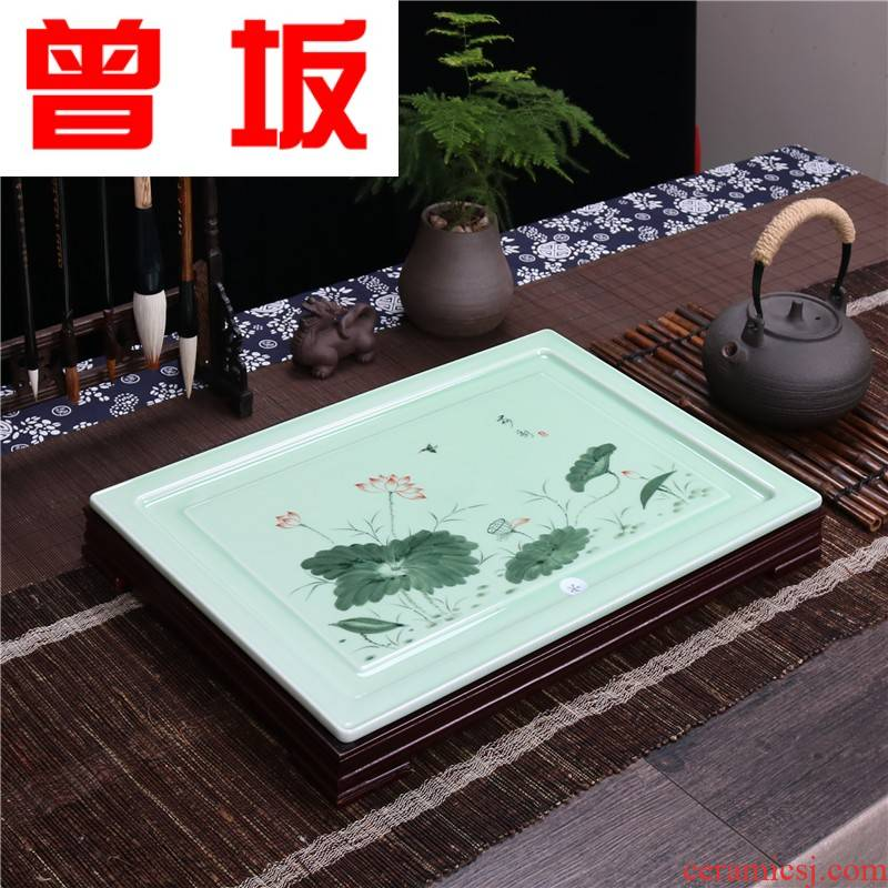 Once sitting home sitting room tea set ceramic celadon kung fu tea tray rectangle drainage tea tea tea sea plate modern Jane