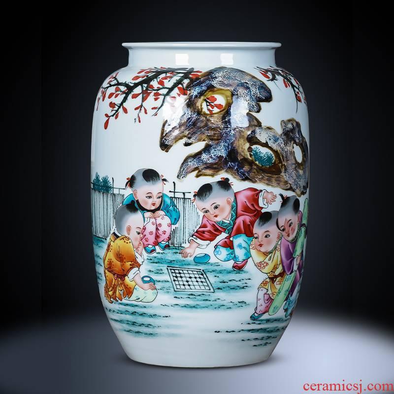 Jingdezhen porcelain ceramic hand - made up vase furnishing articles new living room TV cabinet decoration of Chinese style household porcelain