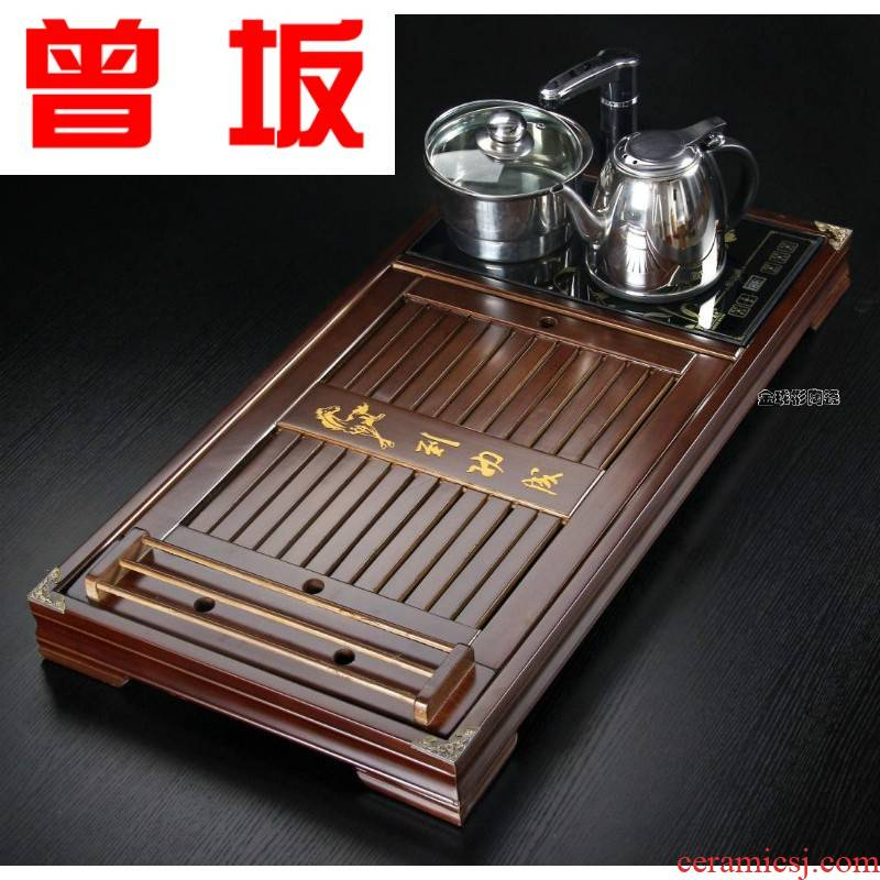 Once sitting kembat success solid wood tea table integrated induction cooker four unity of violet arenaceous kung fu tea tray