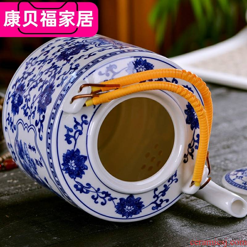 Jingdezhen ceramic teapot household with cover small cold to hold to high temperature cold water filtration of blue and white porcelain teapot kettle