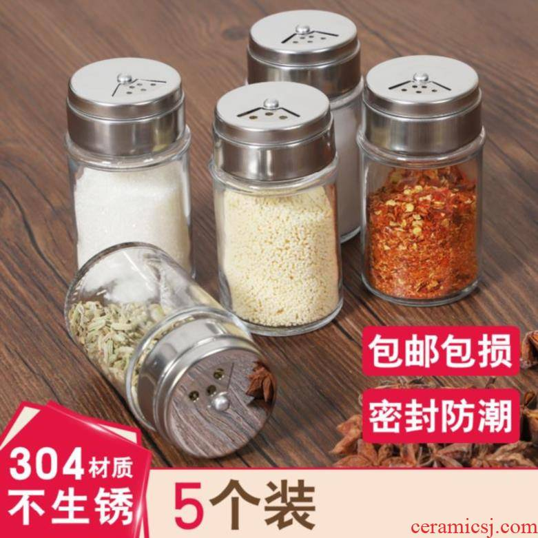 Tableware pores pepper bottles, receive a box transparent household size classification of portable spice BBQ
