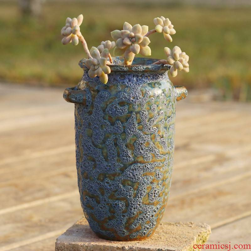 Fleshy mage old running the flowerpot high basin coarse pottery breathable high creative POTS flesh zhuang zi flower pot