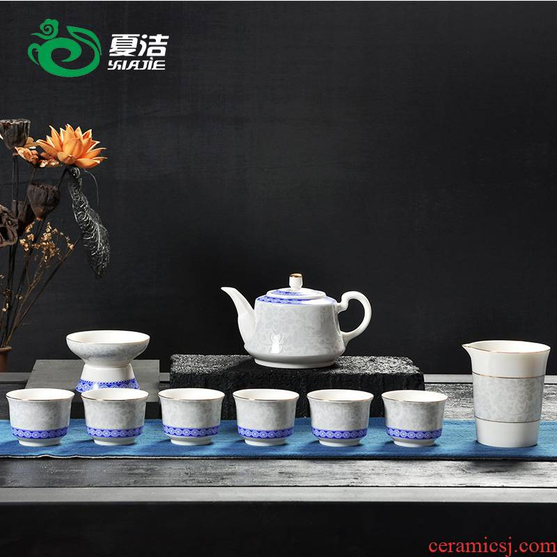 Four - walled yard kung fu tea set of blue and white porcelain of a complete set of household see colour ceramic hand - made teacup teapot modern dehua
