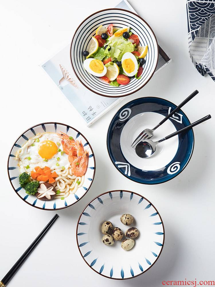 With Calvin creative Japanese hand bowl contracted ancient color blue and white porcelain bowls of household eat soup bowl bowl hat to rainbow such use