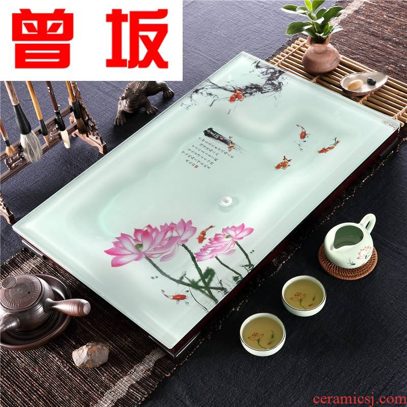 Once sitting home sitting room office kung fu ceramic tea sets a rectangle large tea tray was toughened glass tea table