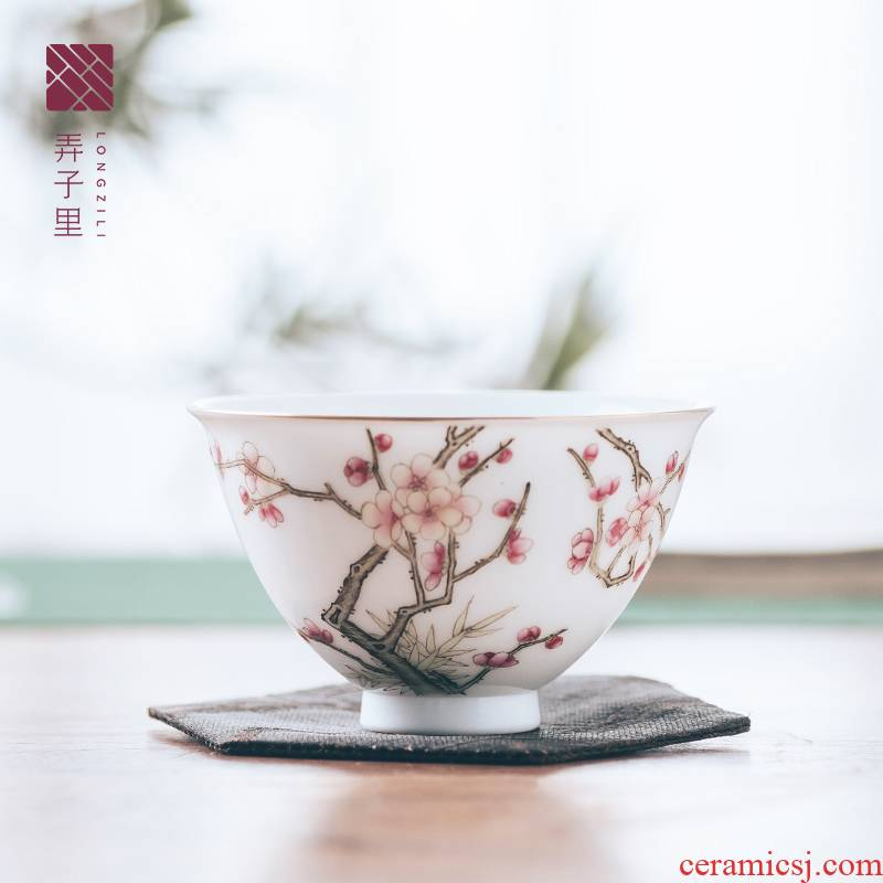 Get in jingdezhen ceramic cups of glass cup high - grade creative master the name plum and the bamboo spring heart cup first
