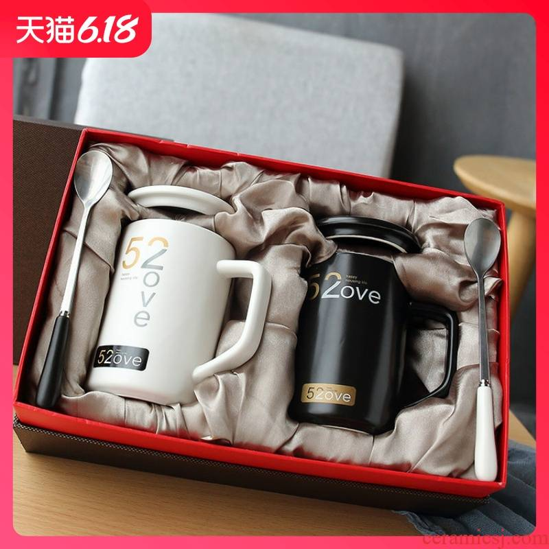 Guest comfortable 520 resistant ceramic keller with spoon, cup one household creative cup custom LOGO