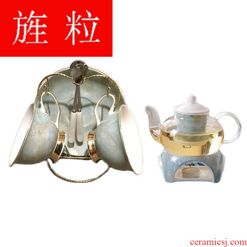 Continuous particle heating glass ceramic flower pot pot suit European creative afternoon tea set heat - resisting fruit tea pot