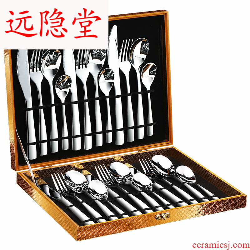 304 stainless steel cutlery set of knife and fork spoon, three - piece beefsteak knife and fork dish suits for the home