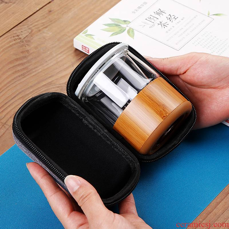 Single crack glass cup portable package travel tea set a pot of 1 cup of Japanese office kunfu tea