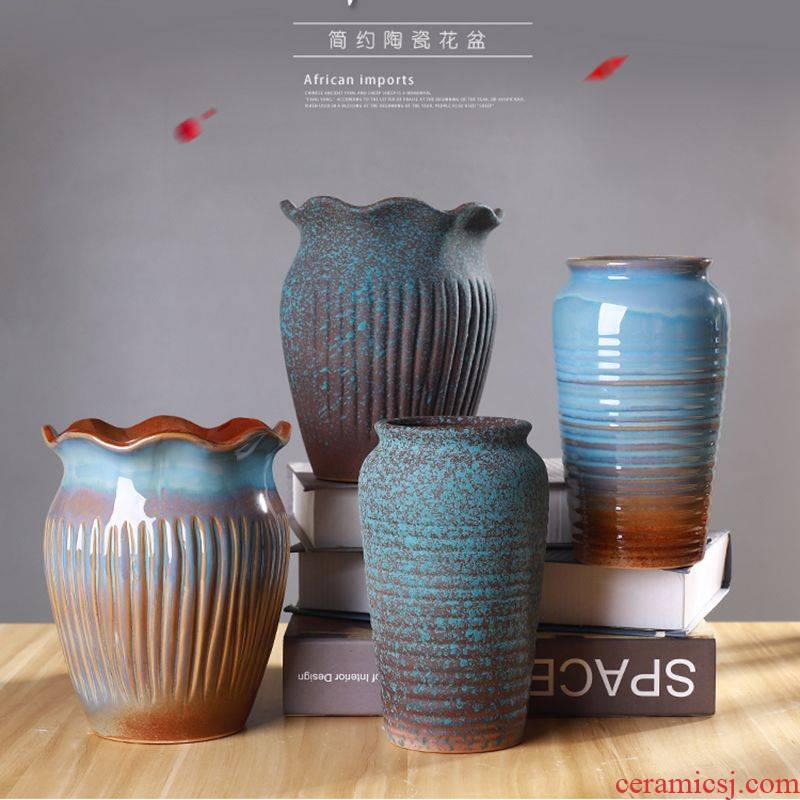 Flowerpot large fleshy flower POTS, large diameter old running the basin to extra large creative ceramic Flowerpot more meat on sale