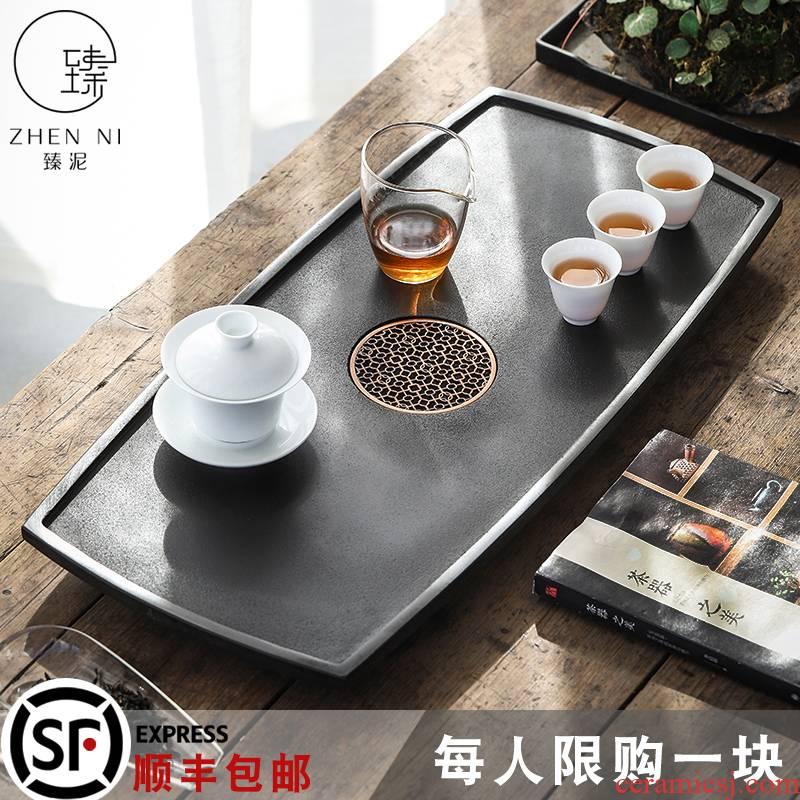 Sharply by mud stone tea tray with large blocks of natural stone, black stone tray was kung fu tea tea tea