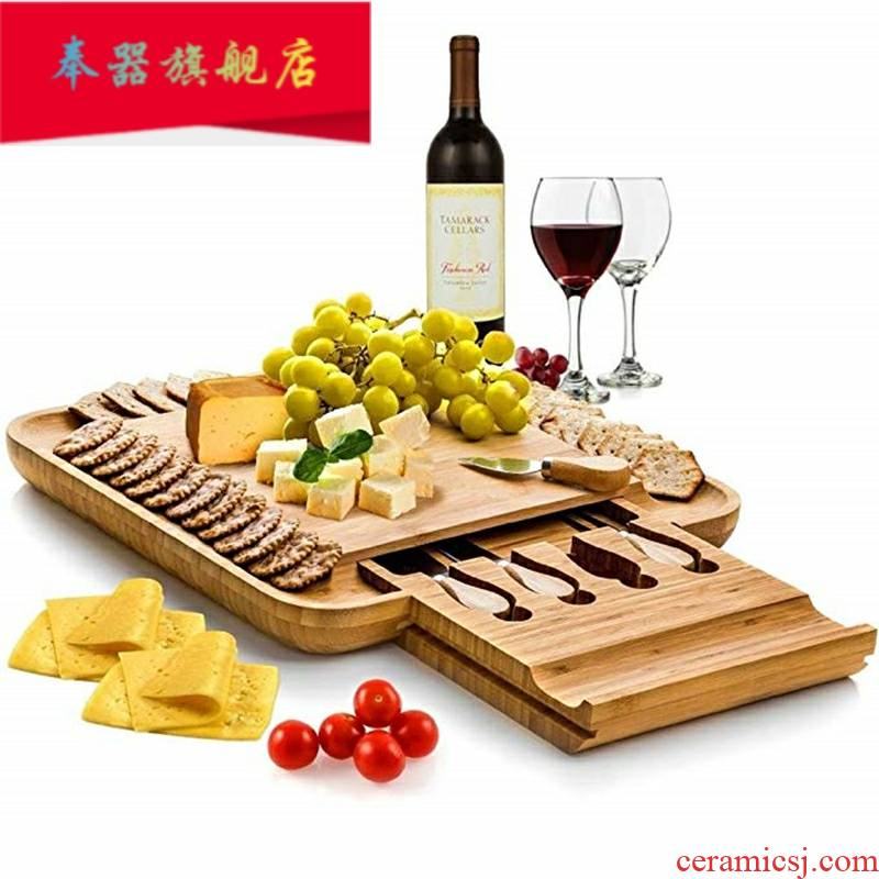 Cheese plate suit western food steak tableware creative bamboo cake board European cutlery set fruit plate of bread board