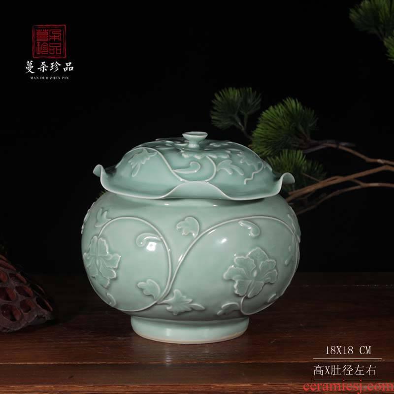 High - grade porcelain rice pot celadon art porcelain cover rich ancient frame storage decorative porcelain jar