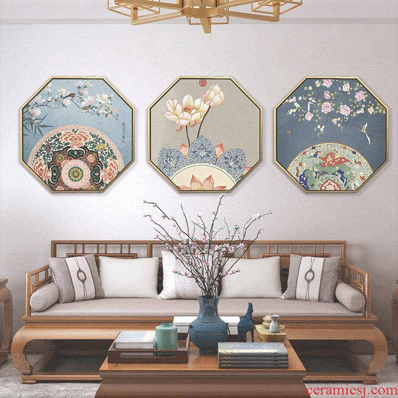 New Chinese style adornment of the sitting room porch zen painting of flowers and octagon hang a picture to Chinese wind lotus tea room wall murals