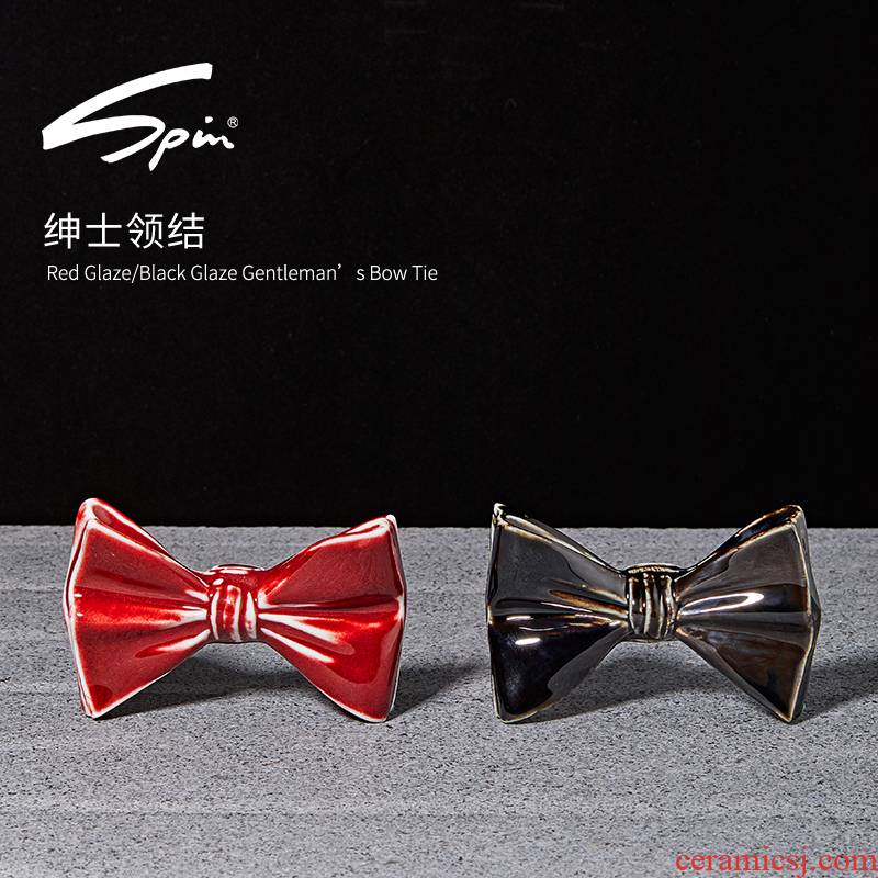 Spin the gentleman men bow tie tie wedding party party creative gift porcelain ornaments