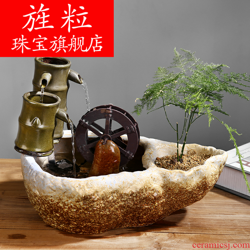 Continuous particle plutus feng shui wheel ceramic office desktop furnishing articles sitting room aquarium water fountain humidifier for opening taking