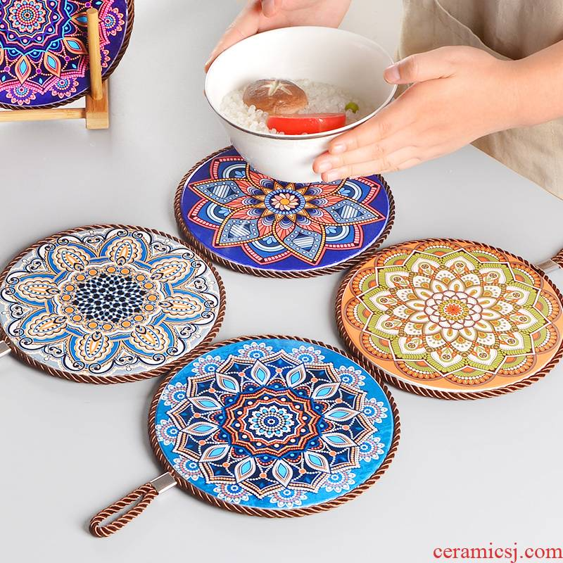 Ceramic heat insulation pads ironing table mat Japanese cup mat bowls mat household creative plate mat mat the eat mat decoration