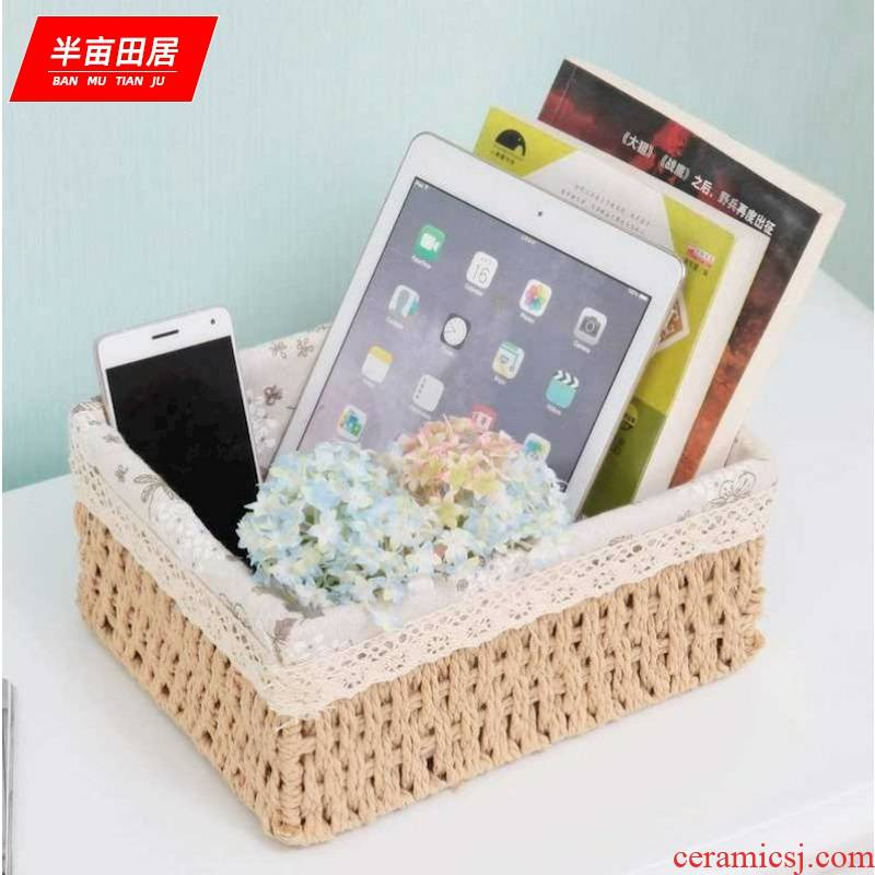 American snack boxes sitting room jewelry desktop remote control rectangular household tea table basket at the feel of the bedroom