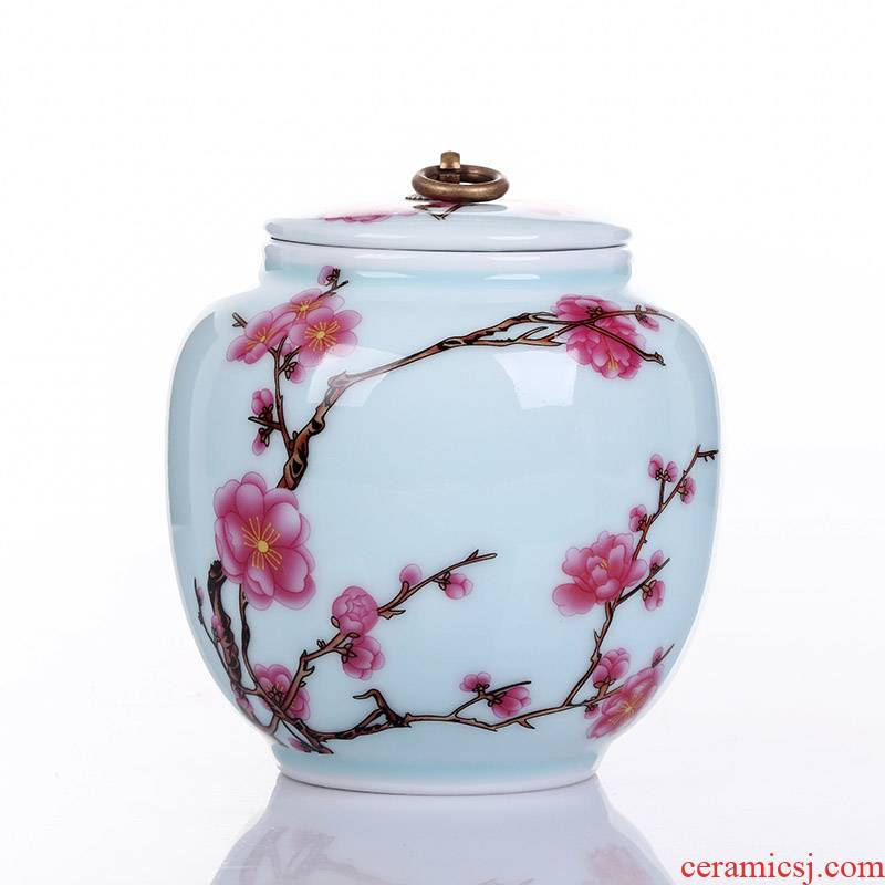Jingdezhen ceramic tea pot large pu - erh tea powder POTS tea urn storage name plum wake POTS of tea box tea bucket of tea set