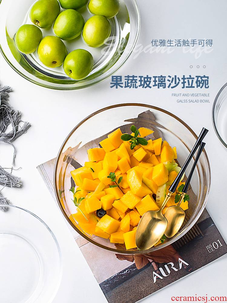 The microwave transparent glass bowl of creative household salad dessert bowl bowl heat - resistant to use large terms tableware rainbow such use